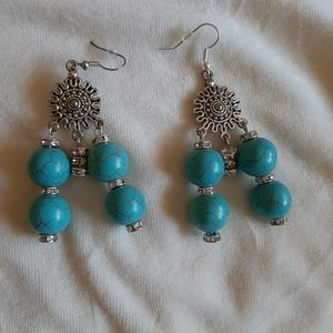 Genuine handmade turquoise earrings.